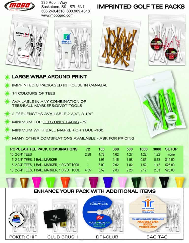 Golf Tee Packs catalogue