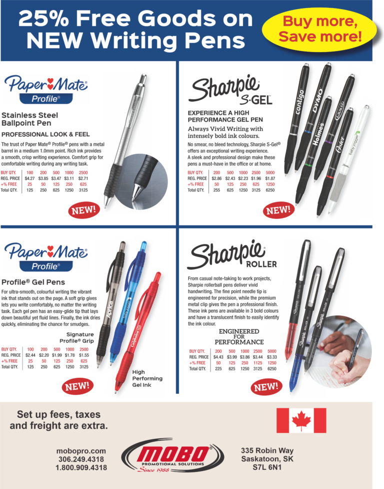 Free Goods on New Writing Pens catalogue